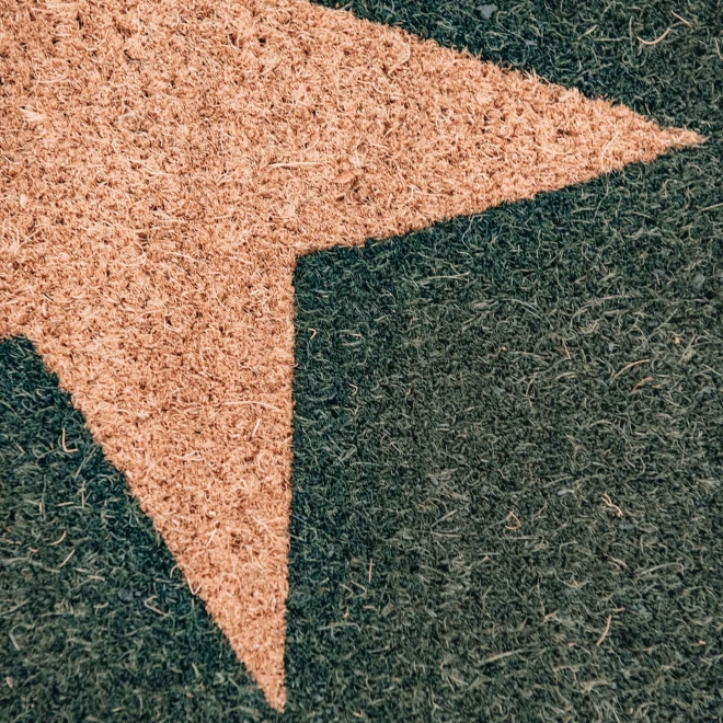 Forest Green Large Star Doormat, detail