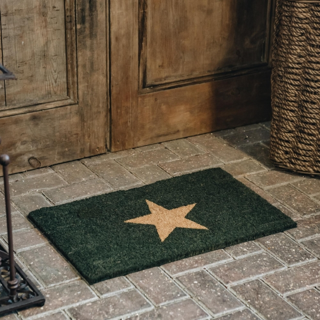 Small Forest Green Star Doormat