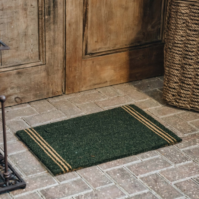 Small Triple Stripe Forest Green Doormat