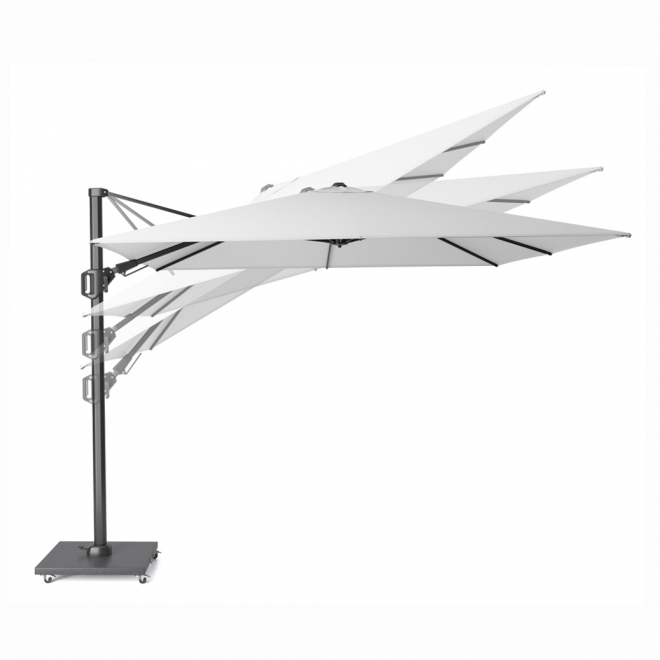 T2 Challenger Taupe Oblong Free Arm Parasol (3.5x2.6m) - tilting positions