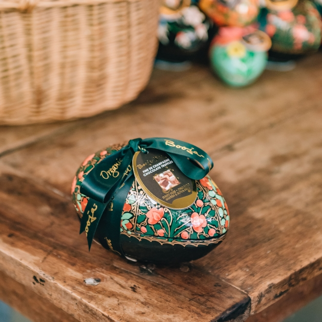 Large Fine de Champagne Truffle Eggs - in blocked floral pattern