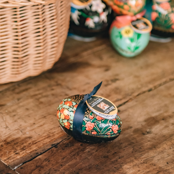 Small Almond & Sea Salt Truffle Eggs - in blocked floral pattern