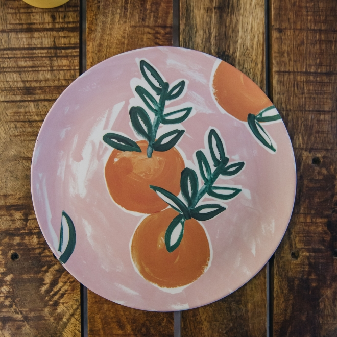 Bamboo Sicilian Summer Dinner Plate - Pink Orange