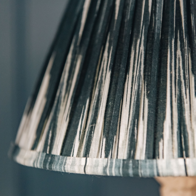 Pooky Empire Lampshade in Black & White Ikat, detail
