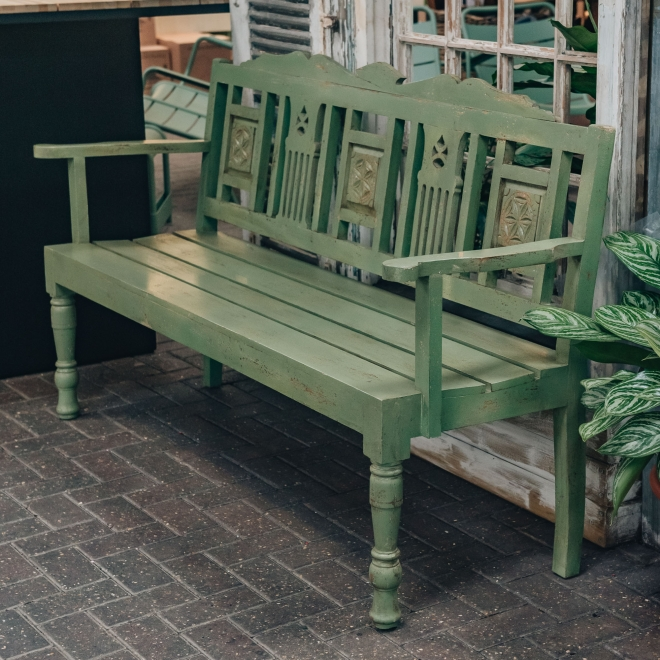 Indian Mango Wood Benches Fiddle Chartwell Green