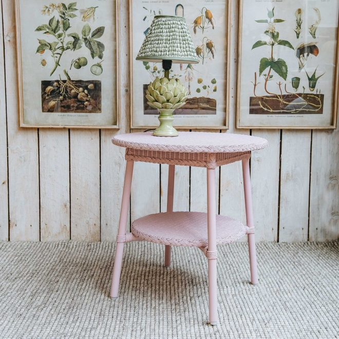 Classic Lloyd Loom Round Coffee Tables in Old Pink