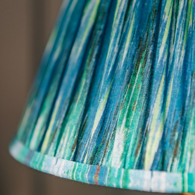 Pooky Empire Lampshade in Teal Ikat, detail