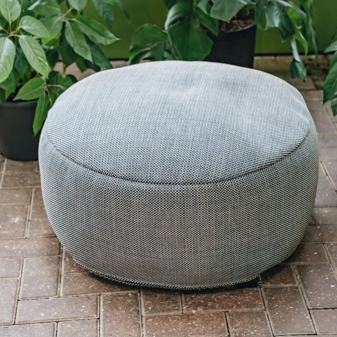 Large Dotty Round Pouf in Navy