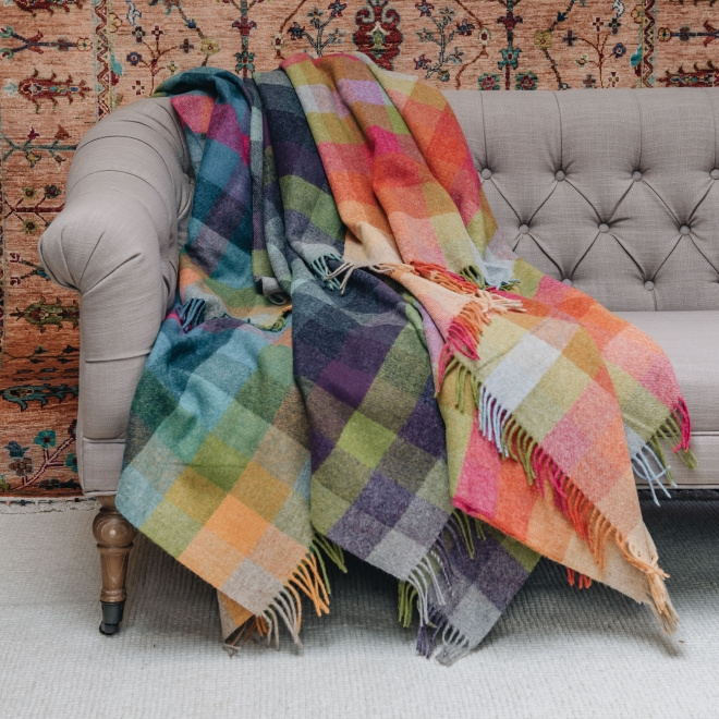 Harlequin Shetland Wool Throws from Burford Garden Company