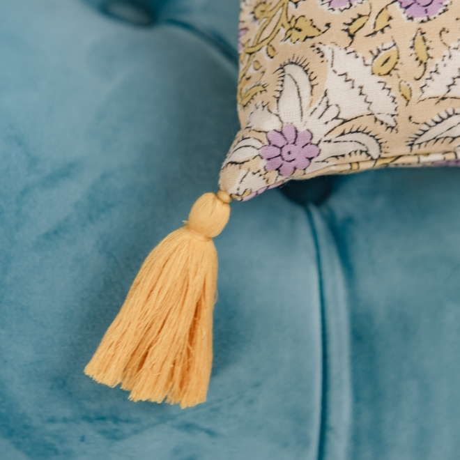 Lily Masala Cushion, detail of tassel