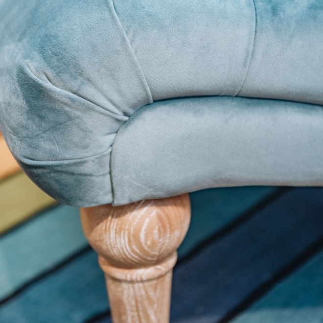 Occasional Norton Chair in Jade - Front Seat Detail