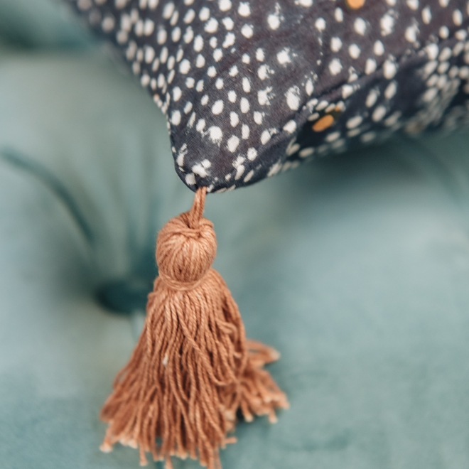 Star Cushion Black - Tassel Detail