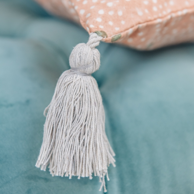 Star Cushion Nude - Tassel Detail