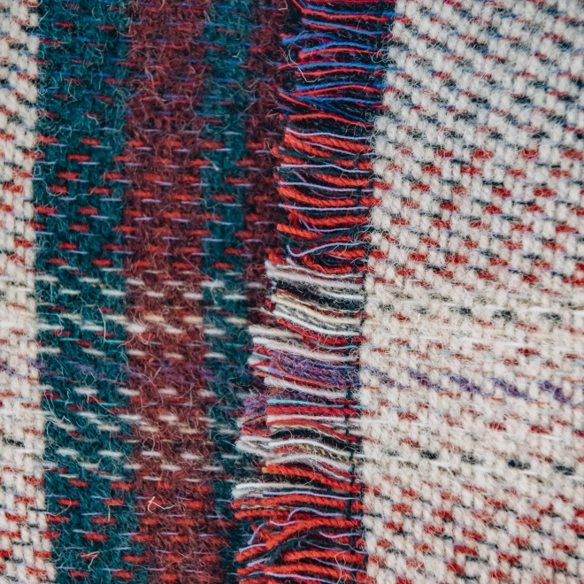 All Wool Picnic Throw - Bottle Green Fringing Detail