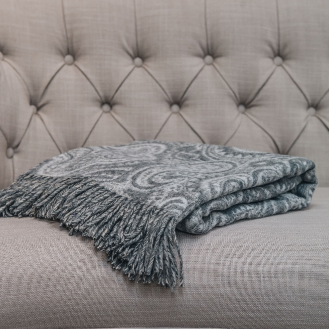 Bayswater Paisley Throw in Slate Folded