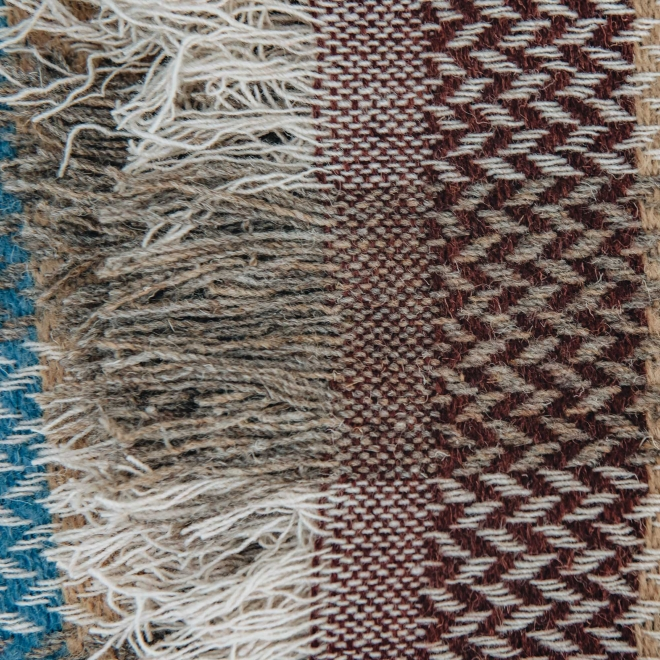 Celtic Weave All Wool Throw - Blue and, Ochre and Paprika Fringing Detail