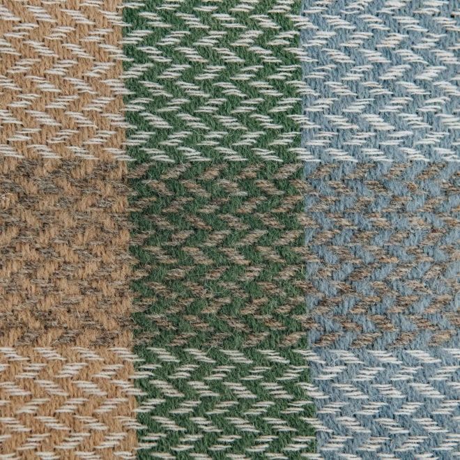 Celtic Weave All Wool Throw - Blue and Green Swatch Detail