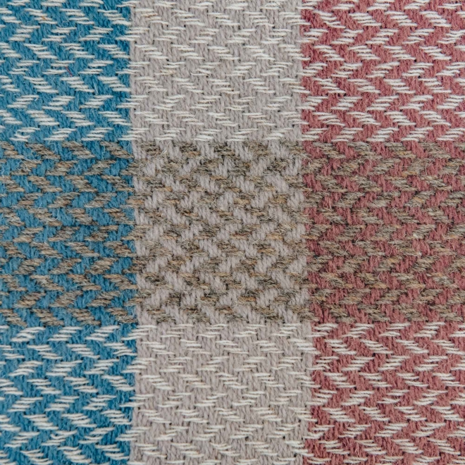 Celtic Weave All Wool Throw - Dusky Pink and Blue Swatch detail