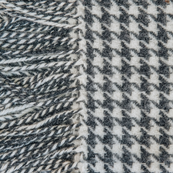 Burford Houndstooth Throw Charcoal - Fringe Detail
