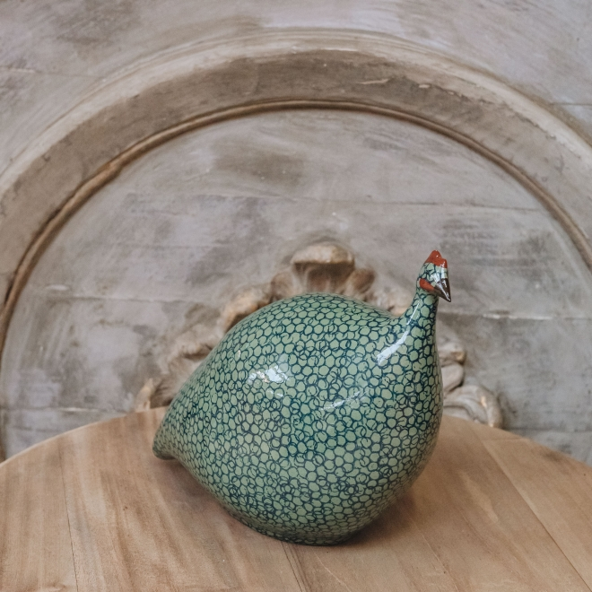 Large Ceramic Guinea Fowl in Green and Blue