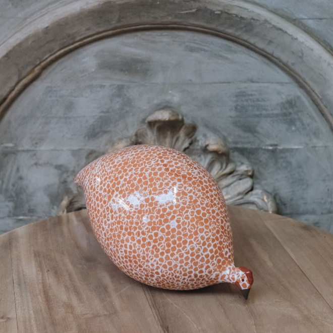 Large Ceramic Pecking Guinea Fowls in Pink and White