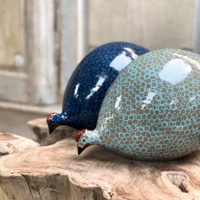 Large Ceramic Pecking Guinea Fowls from Burford Garden Company