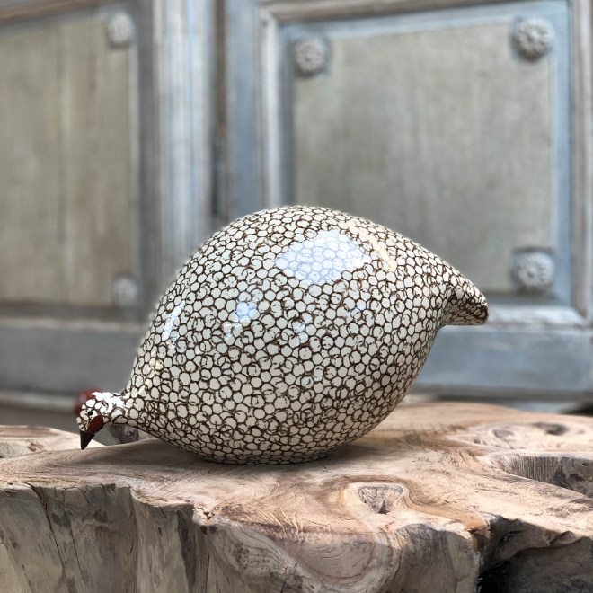 Large Ceramic Pecking Guinea Fowls in White and Brown