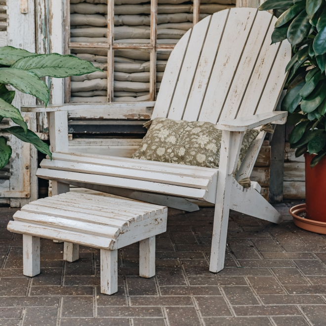 Lounger Chair and Stool in Ivory