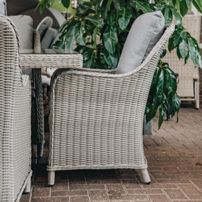Antigua 8-Seat Dining Set in Stone Grey - dining chairs