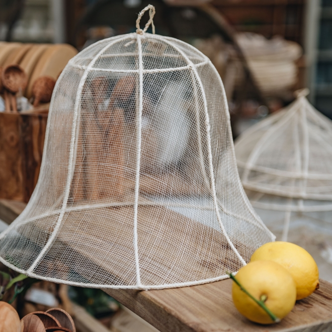 Bell Shaped White Abaca Net Food Cover
