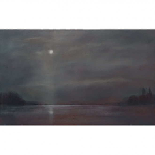 Betty Harrison Moon over Flooded Fields,landscape painting,modern landscape,oil landscape,contemporary landscape,local artist,burford art gallery,oil painting,original artwork,original art,artists in the cotswolds,oxfordshire art galleries