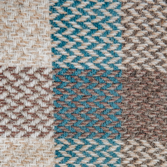 Celtic Weave All Wool Throw in Natural With Teal