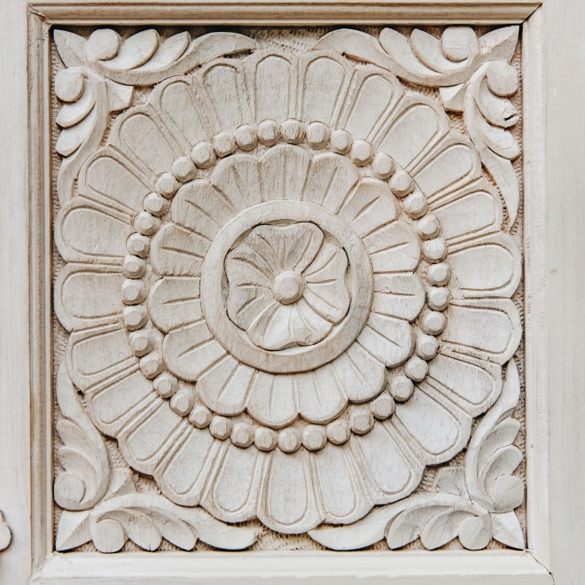 Classic Carved Mango Wood Sideboard - Detail of Carved Floral Motif