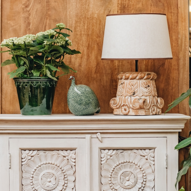 Classic Carved Mango Wood Sideboard - Styled