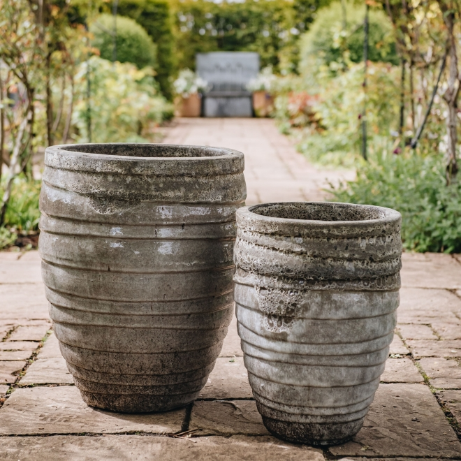 Grey Round Volcano Pots - in Medium and Large