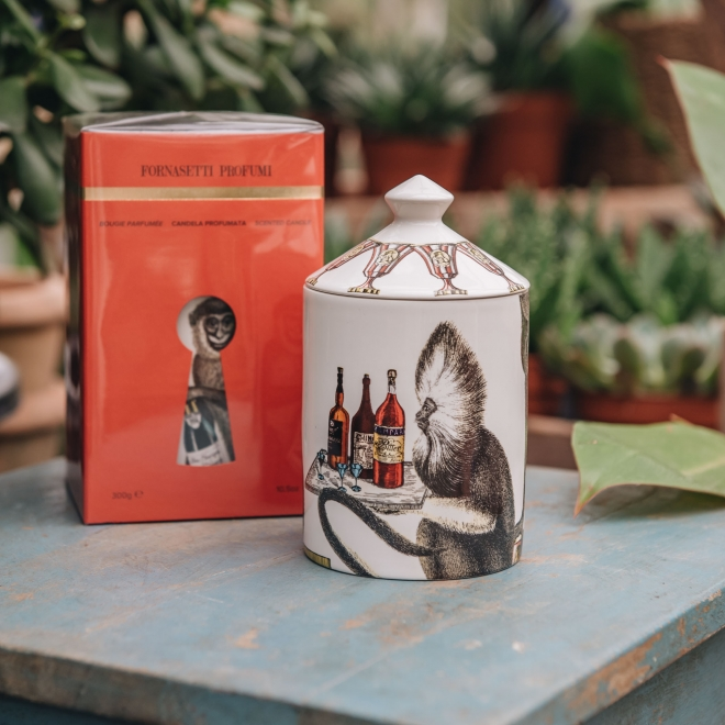 Fornasetti Aperitivo Scented Candle - Monkey with Drinks