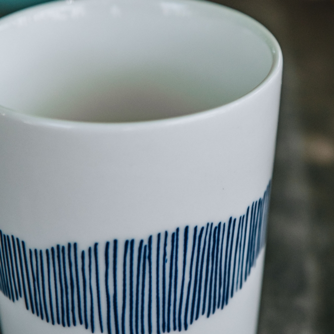 Tea Cup in White with Blue Swirl Stripes