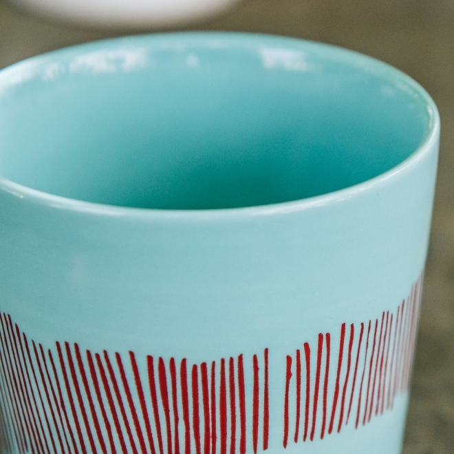 Coffee Cup in Azure with Red Swirl Stripes