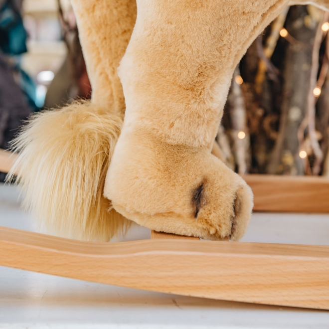 Steiff Rocking Lion, detail showing hind legs and tail