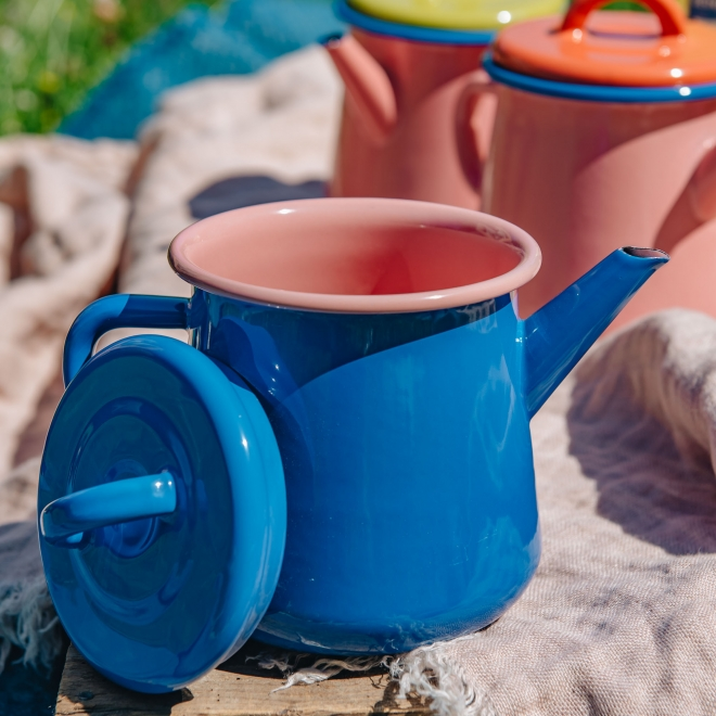 Colorama Teapot - Electric Blue and Soft Pink