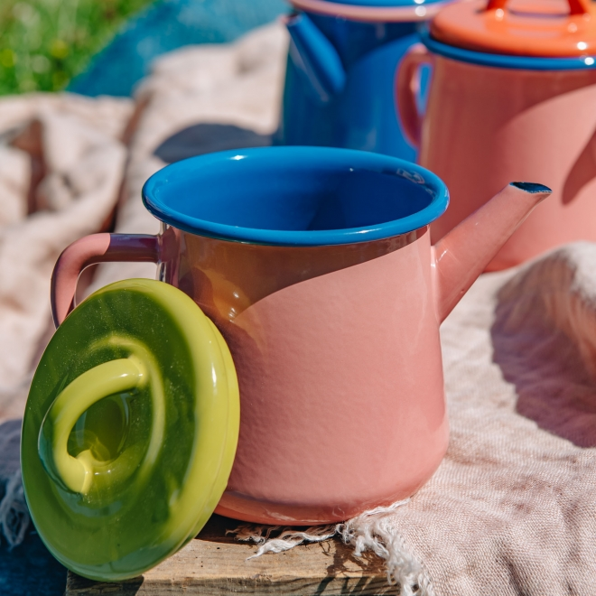 Colorama Teapot - Soft Pink and Lime