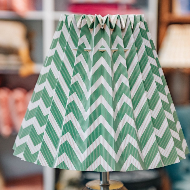 Fold Out Printed Lampshade Wiggly Green