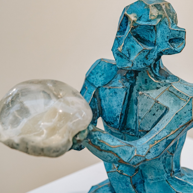 Gary Betts: Blue Figure with Orb, detail of upper body