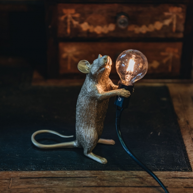Gold Mouse Table Lamp - Lit