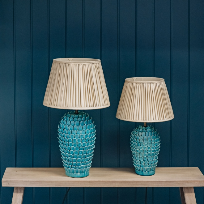 Stucco Table Lamp in Turquoise